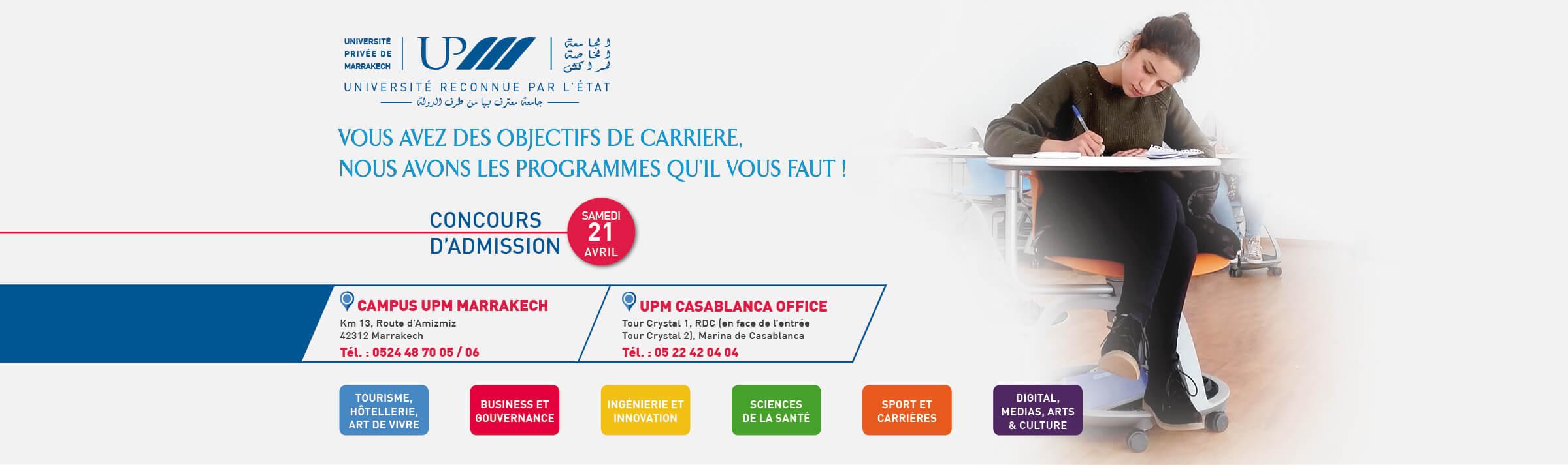 Concours 21 Avril à Marrakech et à Casablanca